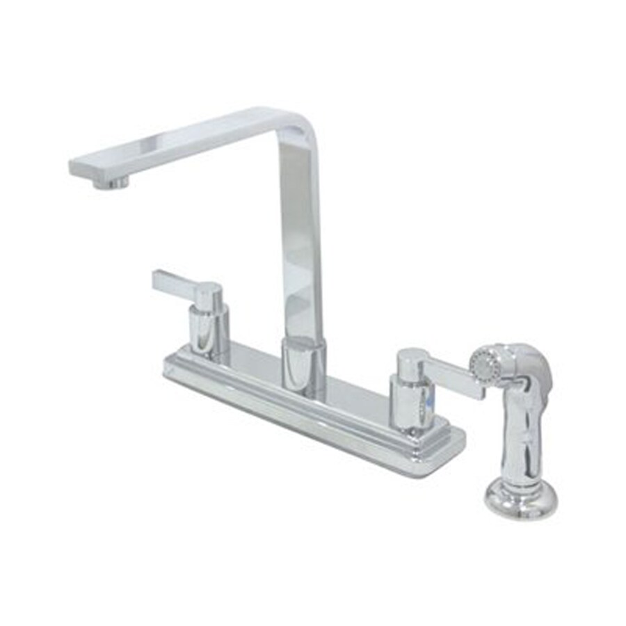 Shop Elements Of Design Nuvofusion Polished Chrome 2 Handle Deck Mount High Arc Kitchen Faucet