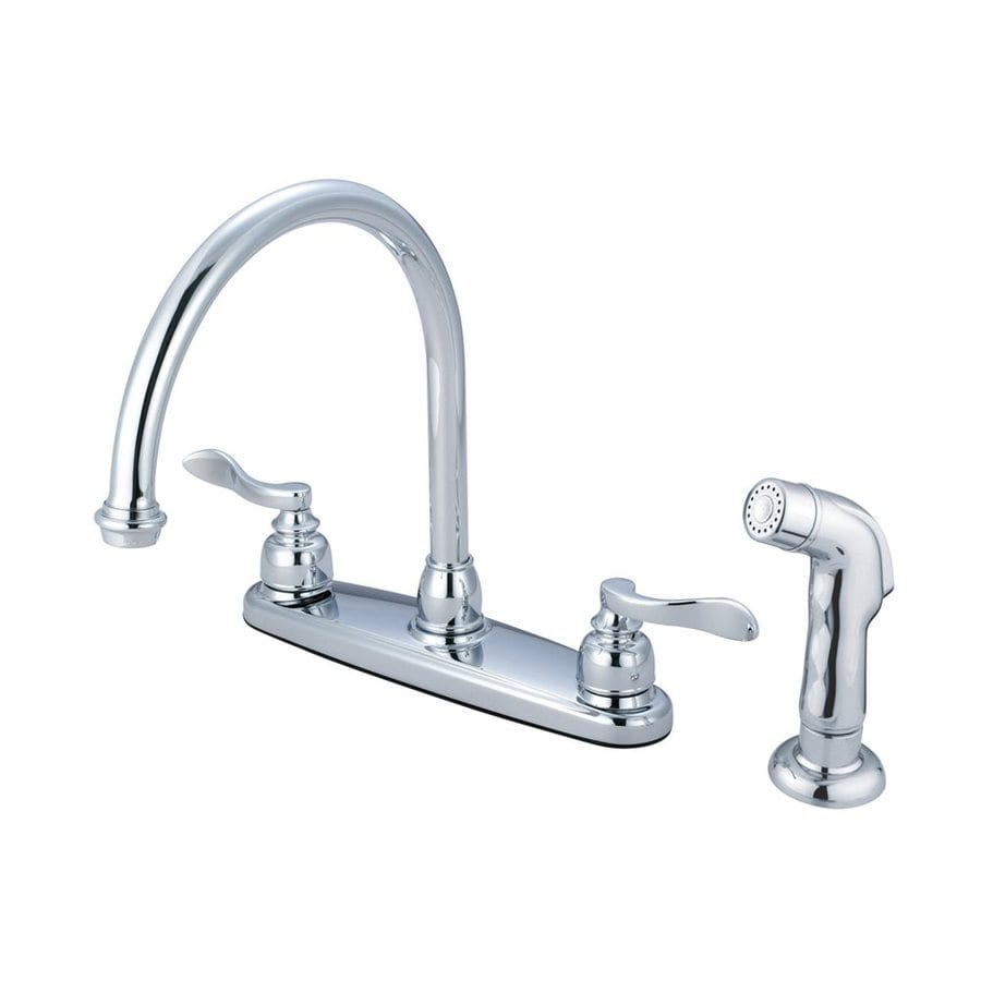 Elements of Design Nuwave French Polished Chrome 2-Handle High-Arc Sink/Counter Mount Kitchen Faucet with Side Spray