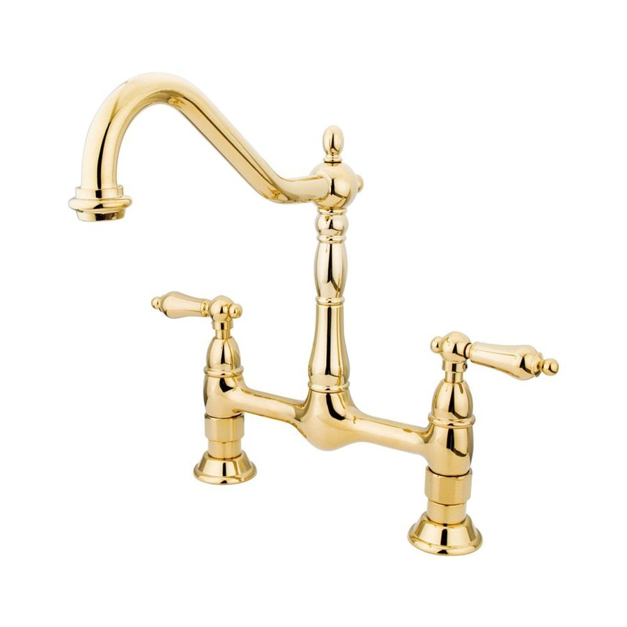 Elements of Design Polished Brass 2-Handle Deck Mount Bridge Kitchen Faucet