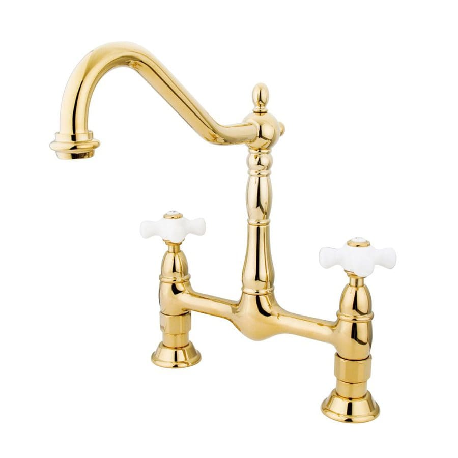 Elements of Design Polished Brass 2-Handle High-Arc Sink/Counter Mount Kitchen Faucet