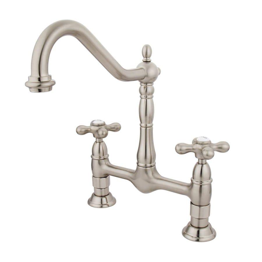 Elements of Design Satin Nickel 2-Handle High-Arc Sink/Counter Mount Kitchen Faucet