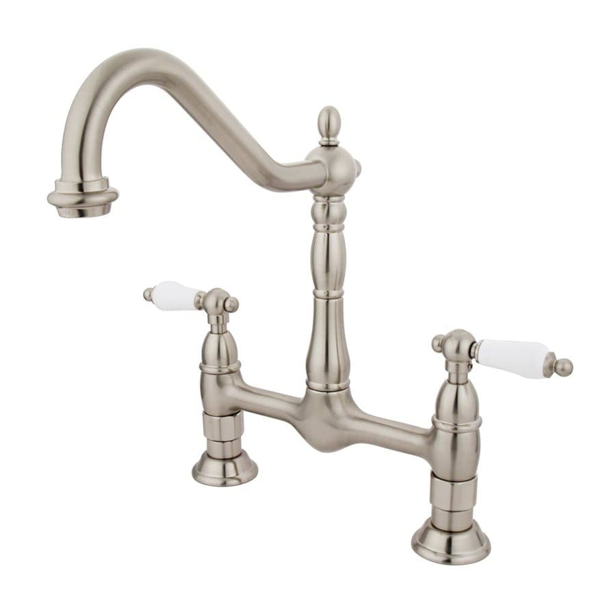 Shop Elements Of Design Satin Nickel 2 Handle High Arc Kitchen Faucet At