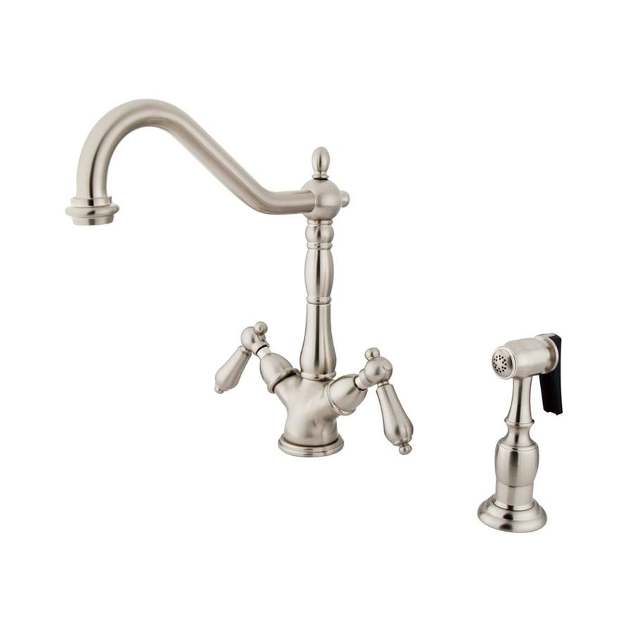 Shop Elements Of Design Satin Nickel 2 Handle Deck Mount Bridge Bar And Prep Faucet At