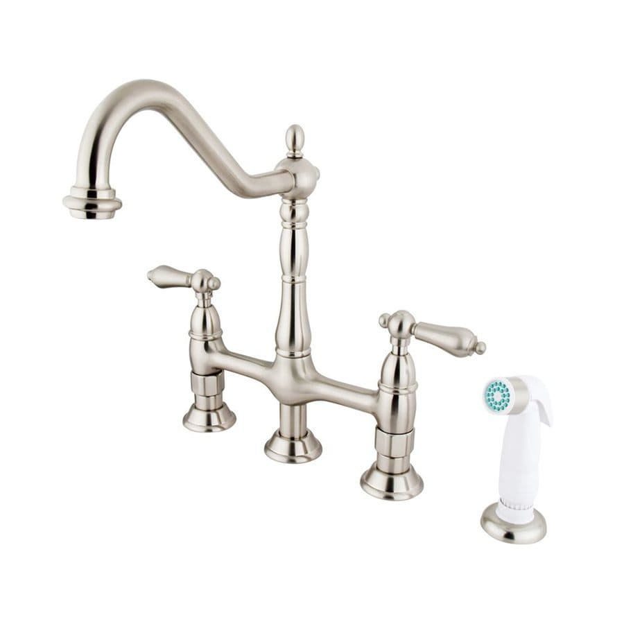 Elements of Design Satin Nickel 2-Handle Deck Mount Bridge Bar and Prep Faucet