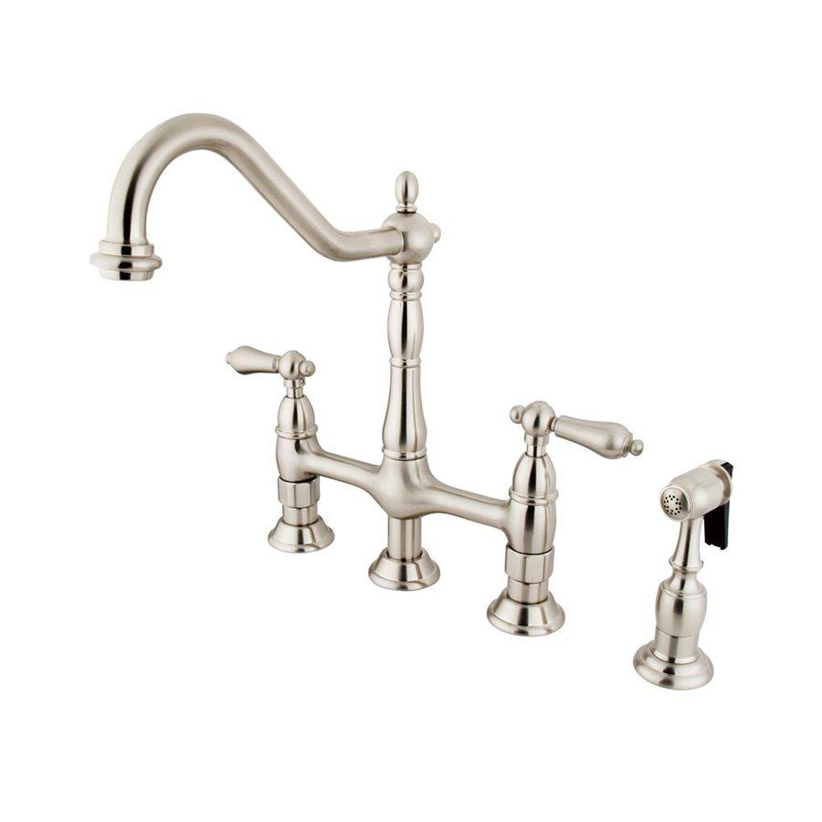 Elements of Design Satin Nickel 2-Handle Deck Mount Bridge Bar and Prep Faucet