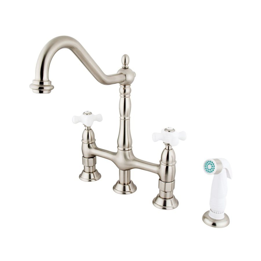 Elements of Design Satin Nickel 2-Handle High-Arc Sink/Counter Mount Kitchen Faucet with Side Spray