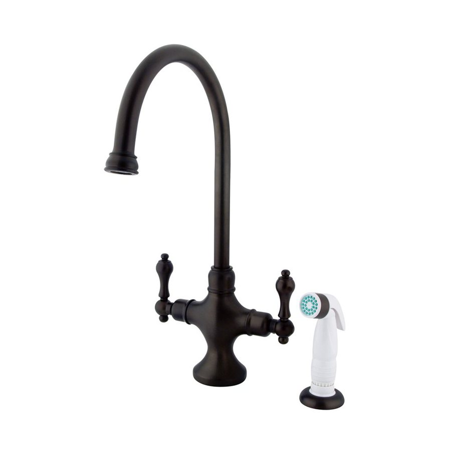 Elements of Design Classic Oil-Rubbed Bronze 2-Handle Deck Mount High-Arc Kitchen Faucet