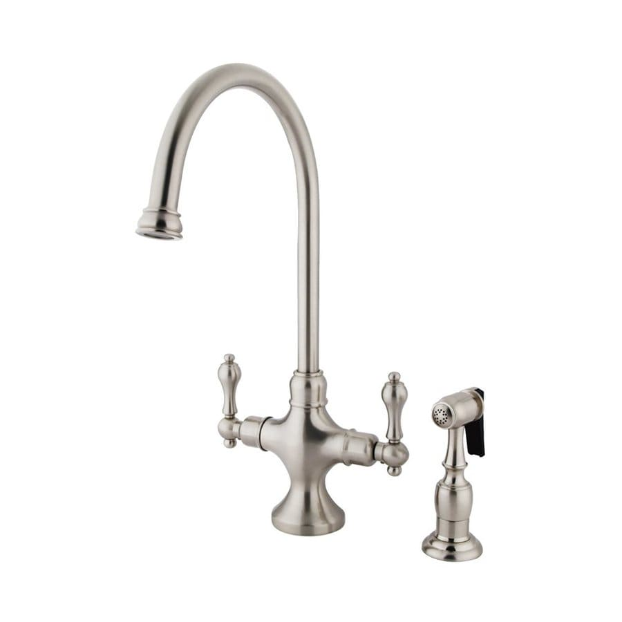 Elements of Design Classic Satin Nickel 2-Handle Deck Mount High-Arc Kitchen Faucet