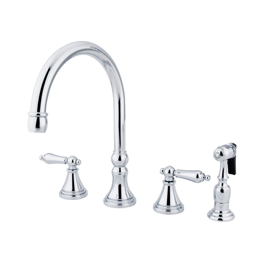 Elements of Design Chrome 2-Handle High-Arc Kitchen Faucet with Side Spray