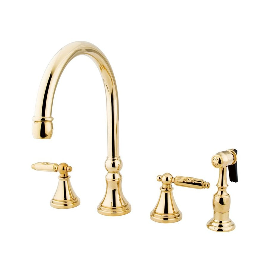 Elements of Design Polished Brass 2-Handle Deck Mount High-Arc Kitchen Faucet