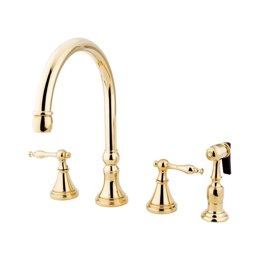 Elements of Design Polished Brass 2-Handle High-Arc Kitchen Faucet