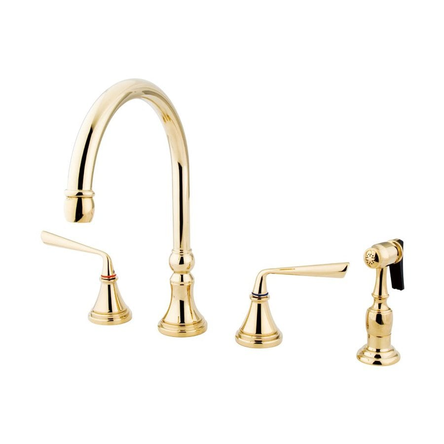 Elements of Design Silver Sage Polished Brass 2-Handle High-Arc Kitchen Faucet with Side Spray