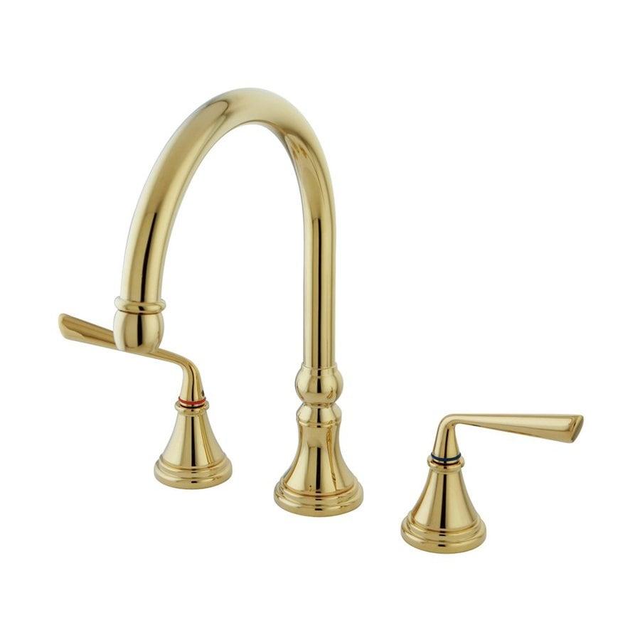 Elements of Design Silver Sage Polished Brass 2-Handle Deck Mount High-Arc Kitchen Faucet