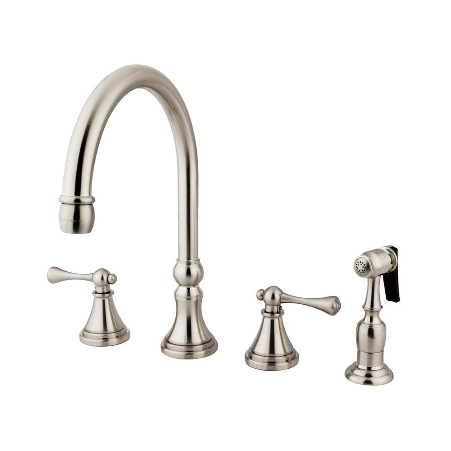 Elements of Design Satin Nickel 2-Handle Deck Mount High-Arc Kitchen Faucet