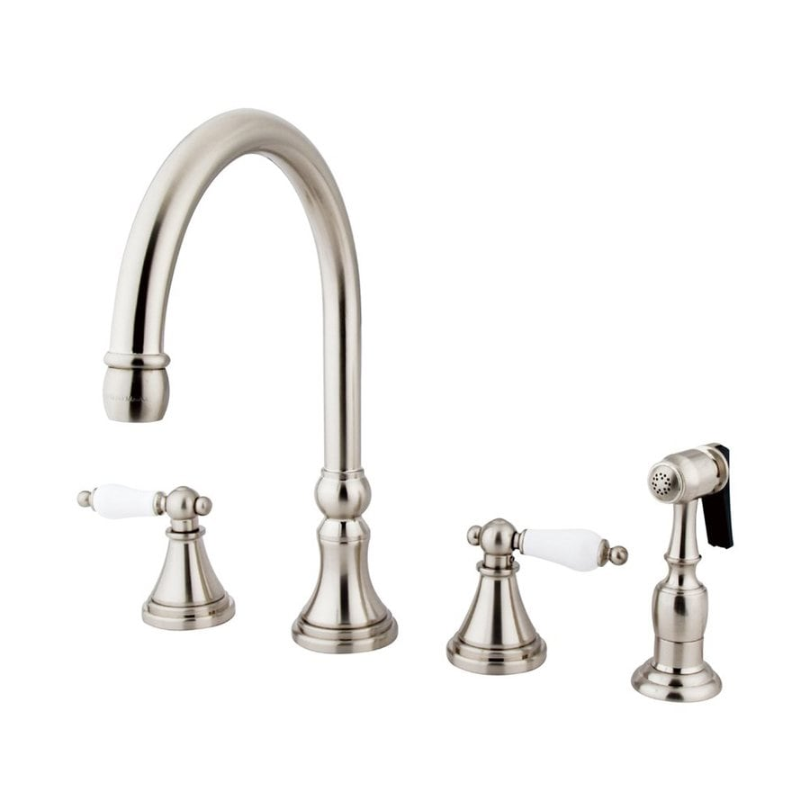 Elements of Design Satin Nickel 2-Handle Deck Mount High-Arc Kitchen Faucet