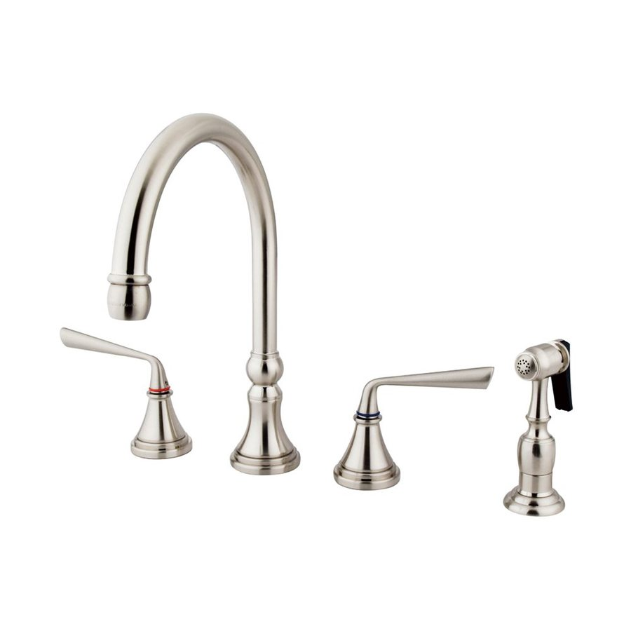 Elements of Design Silver Sage Satin Nickel 2-Handle Deck Mount High-Arc Kitchen Faucet