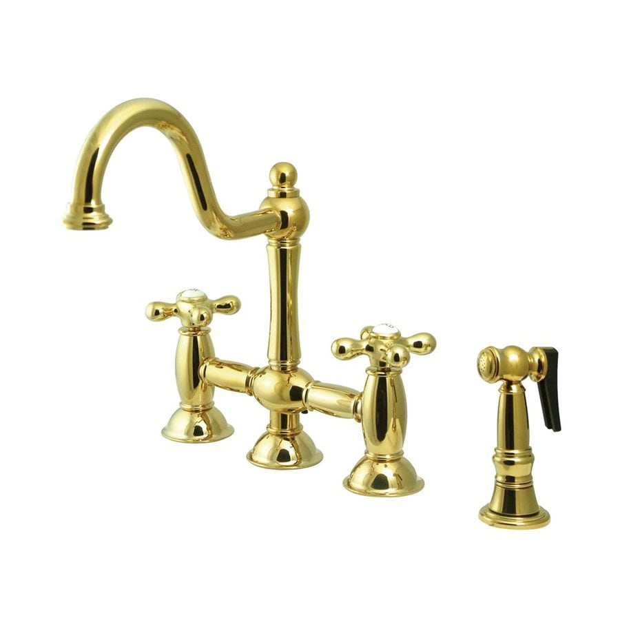 Elements of Design Restoration Polished Brass 2-Handle High-Arc Kitchen Faucet