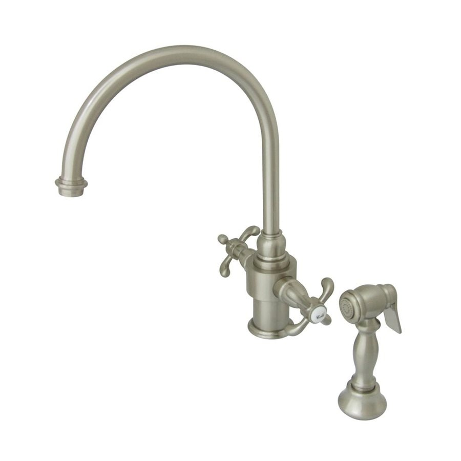 Elements of Design French Country Satin Nickel 2-Handle High-Arc Kitchen Faucet with Side Spray
