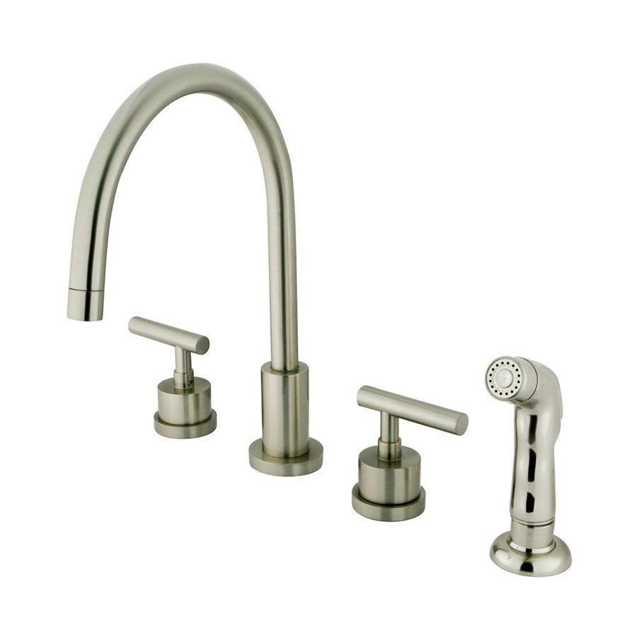 Shop Elements Of Design Manhattan Satin Nickel 2 Handle High Arc Kitchen Faucet At