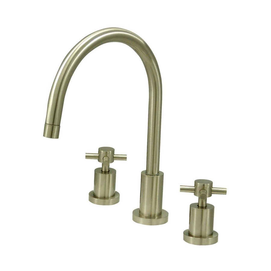 Elements of Design Concord Satin Nickel 2-Handle Deck Mount High-Arc Kitchen Faucet