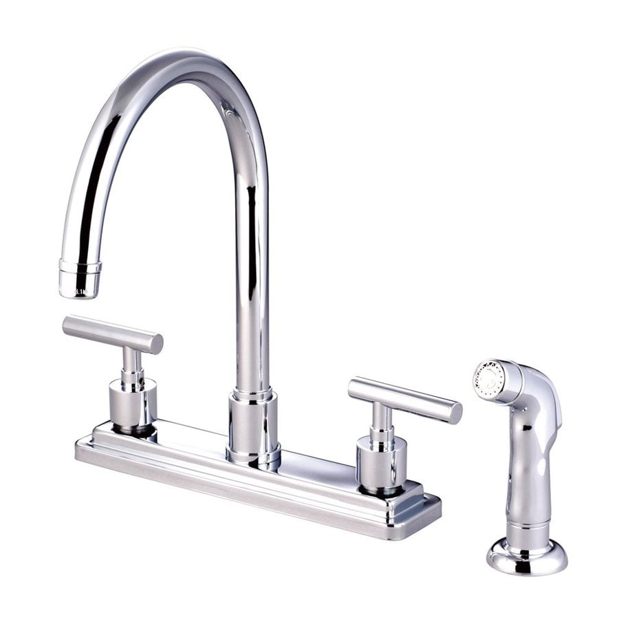 Elements of Design Manhattan Chrome 2-Handle High-Arc Kitchen Faucet with Side Spray