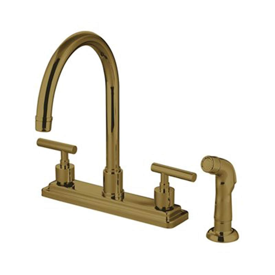 Elements of Design Manhattan Polished Brass 2-Handle High-Arc Kitchen Faucet with Side Spray