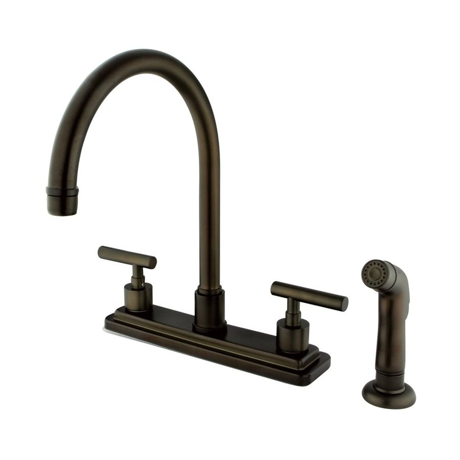 Elements of Design Manhattan Oil-Rubbed Bronze 2-Handle High-Arc Kitchen Faucet with Side Spray