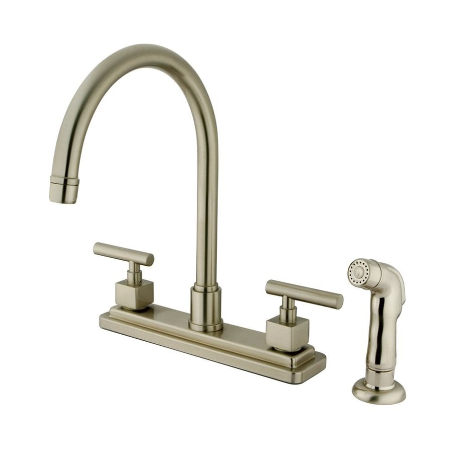 Elements of Design Claremont Satin Nickel 2-Handle High-Arc Sink/Counter Mount Kitchen Faucet with Side Spray