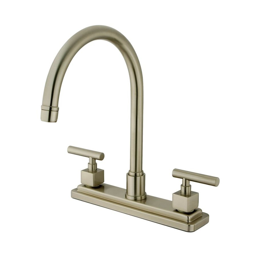 Elements of Design Claremont Satin Nickel 2-Handle High-Arc Sink/Counter Mount Kitchen Faucet