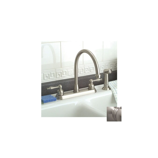 Premier Faucet Wellington Brushed Nickel 2 Handle High Arc Kitchen Faucet With Side Spray In The Kitchen Faucets Department At Lowes Com