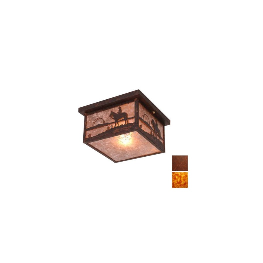 Steel Partners 14-in W Rust Ceiling Flush Mount