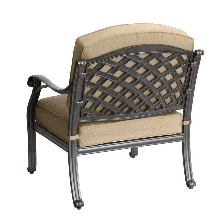 Shop darlee nassau antique bronze aluminum cushioned patio for Aluminum patio chairs