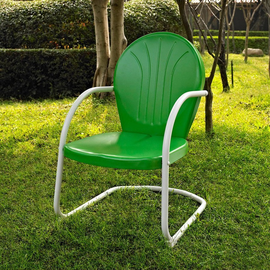 Crosley Furniture Griffith Grasshopper Green Steel Patio Conversation Chair