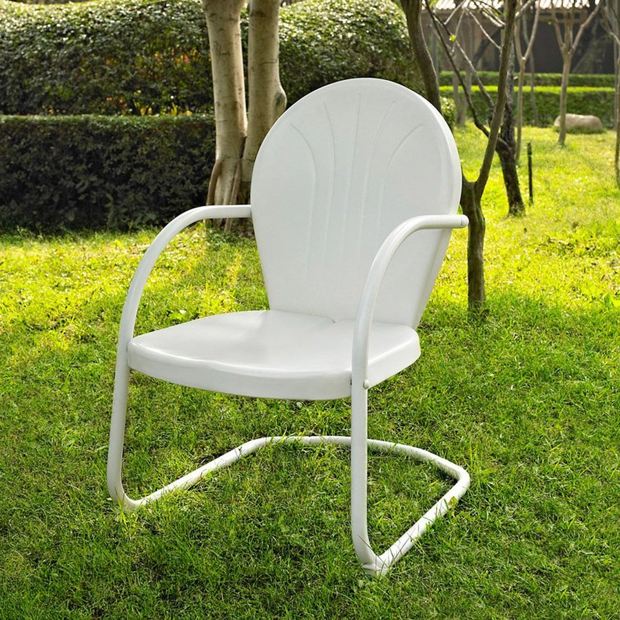 Crosley Furniture Griffith White Steel Patio Conversation Chair
