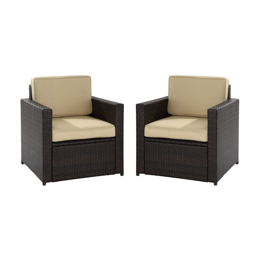 Shop crosley furniture palm harbor 2 count brown wicker for Porch furniture