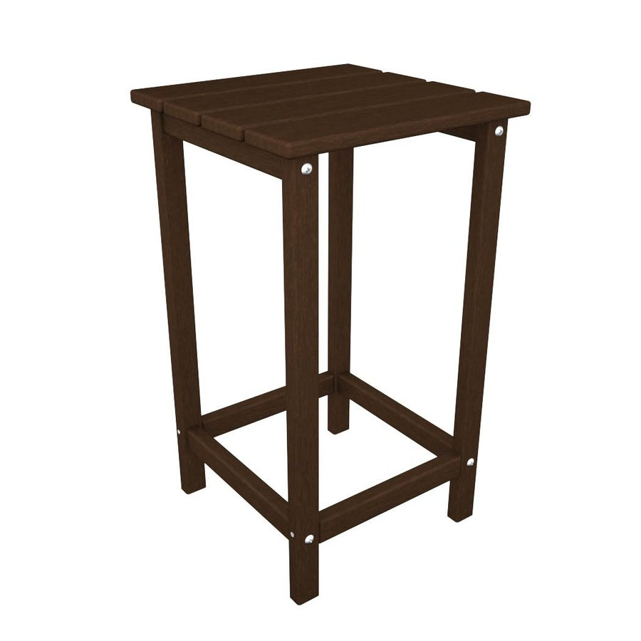 POLYWOOD Long Island Adirondack 15-in x 15-in Mahogany Square Patio End Table