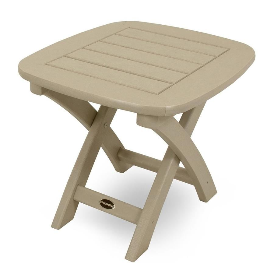 POLYWOOD Nautical 18-in W x 21-in L Rectangle Plastic Folding End Table