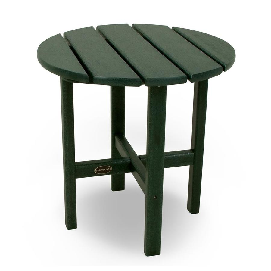 POLYWOOD 18-in W x 18-in L Round Plastic End Table