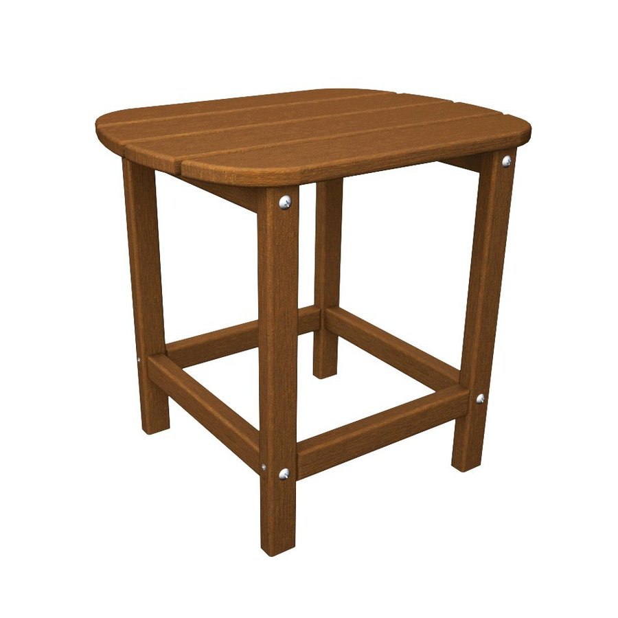 POLYWOOD South Beach Adirondack 19-in x 15-in Teak Oval Patio End Table