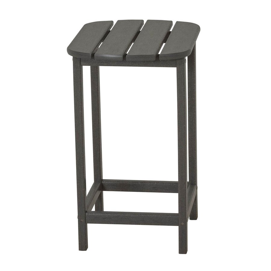 POLYWOOD South Beach Adirondack 19-in x 15-in Slate Grey Oval Patio End Table