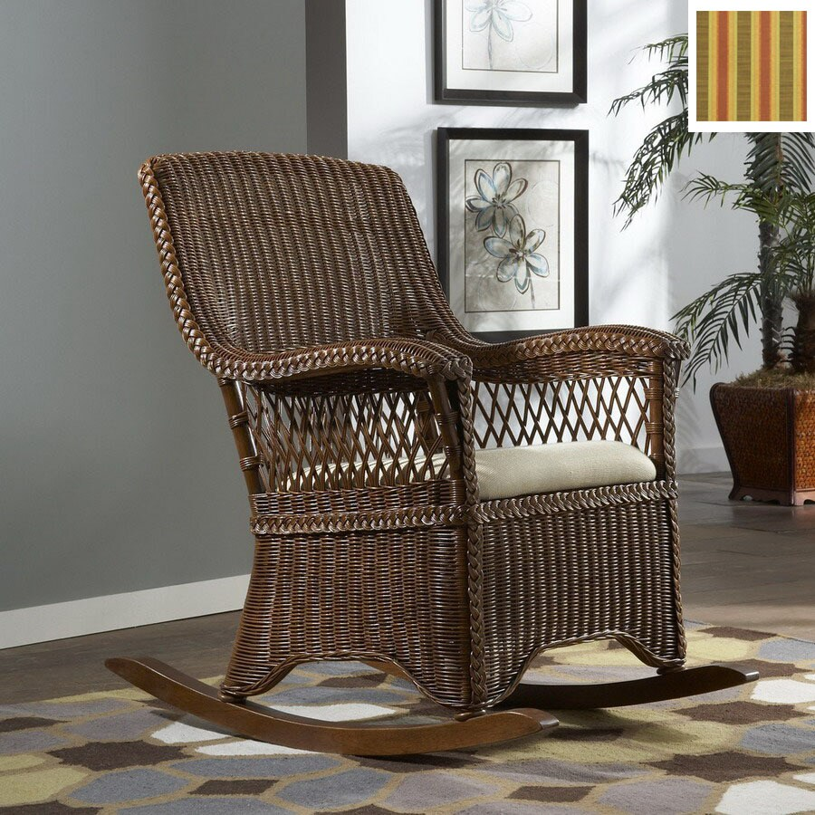 Hospitality Rattan Cozmel TC Antique Wood Cushioned Seat Outdoor Rocking  Chair