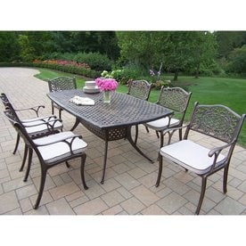 metal outdoor dining sets cast iron oakland living mississippi 7piece bronze metal frame patio dining set with oatmeal cushions sets at lowescom