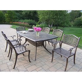 7 piece outdoor dining set home oakland living mississippi 7piece bronze metal frame patio dining set sets at lowescom