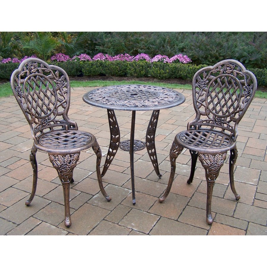 Oakland Living Tea Rose 3-Piece Antique Bronze Aluminum Bar Patio Dining Set