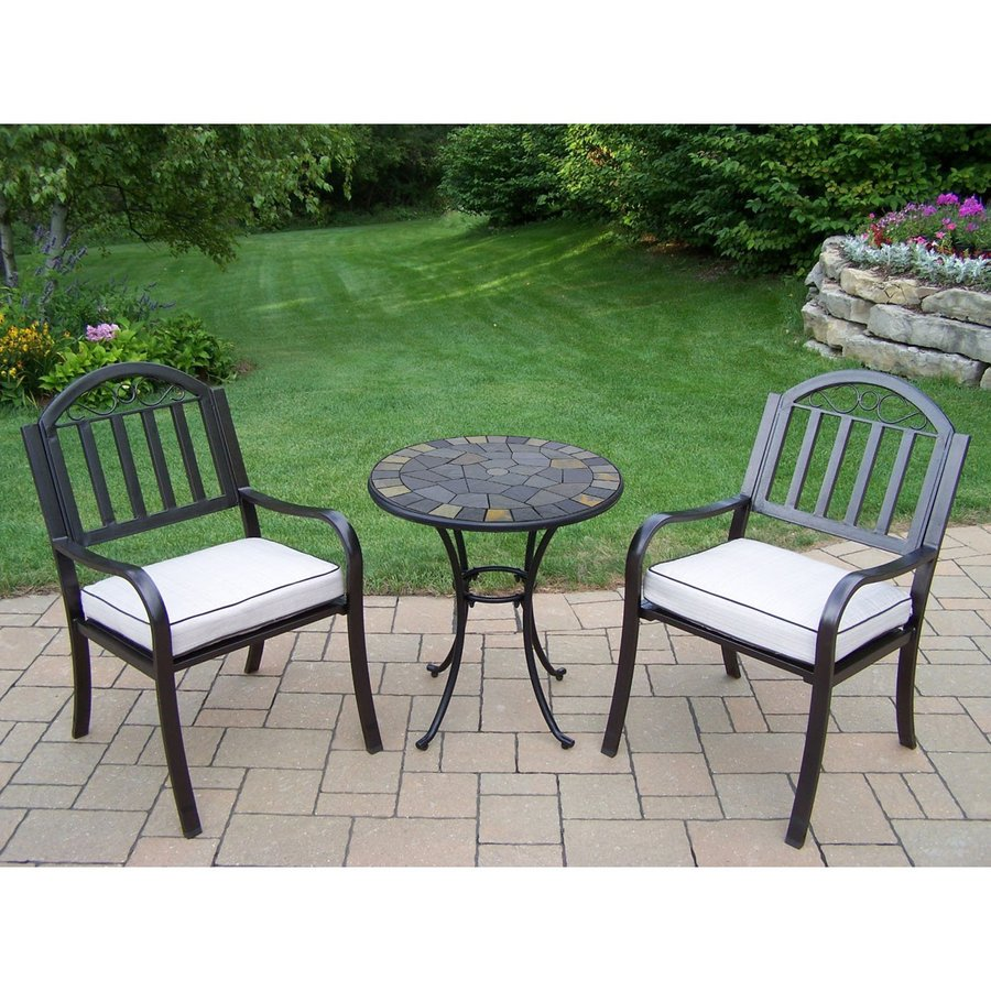 Delicieux Oakland Living Stone Art 3 Piece Black Metal Frame Bistro Patio Dining Set  With Cushions