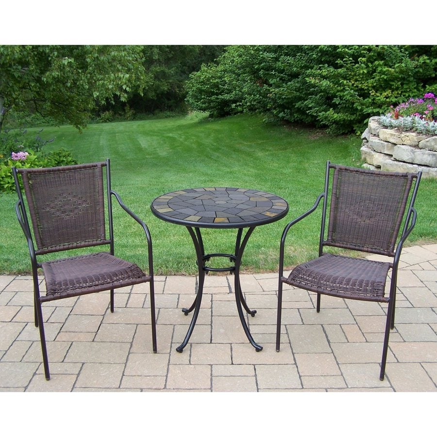 Oakland Living Stone Art 3 Piece Brown Metal Frame Bistro Patio Dining Set