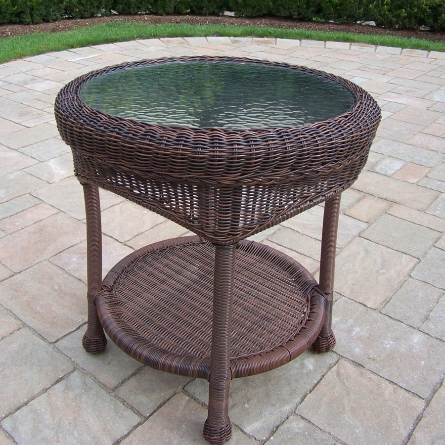 Oakland Living Resin Wicker 21.5 In W X 21.5 In L Round Steel Wicker