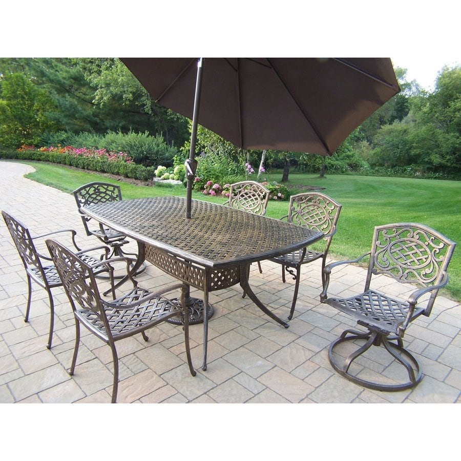 Oakland Living Mississippi 8-Piece Antique Bronze Aluminum Dining Patio Dining Set