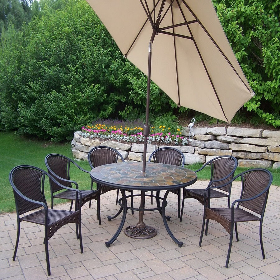 Oakland Living 8-Piece Woven Wrought Iron Patio Dining Set