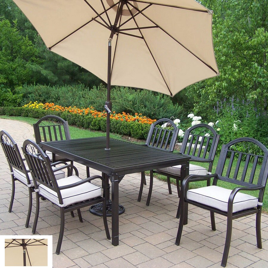 Oakland Living 7 Piece Cushioned Wrought Iron Patio Dining Set